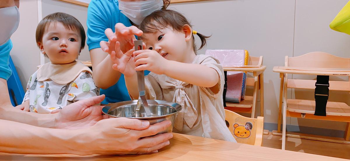 かぼちゃのマーブルケーキを作り♪ 大阪・上本町の保育園レオラ